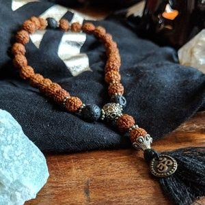 Jewelry - Traditional Mala: Rudraksha & Lava Stone!
